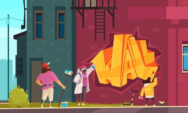 Artista di strada famiglia padre madre bambino muro dipinto graffiti con stencil di rulli di vernice spray