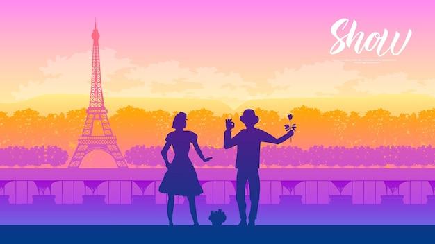 Artisti di strada sopra la torre eiffel in francia progettazione della pagina di terra di vettore della natura del paesaggio