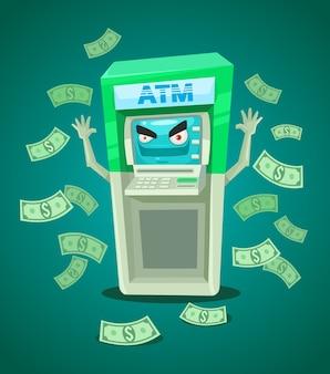 Cassiere di bancomat di strada. illustrazione piatta