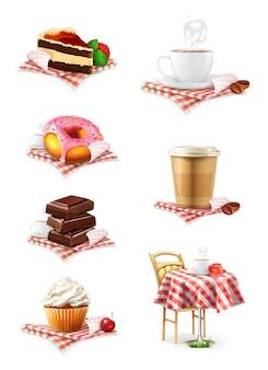 Street cafe, cioccolato, cupcake, torta, tazza di caffè, ciambella, set di icone vettoriali