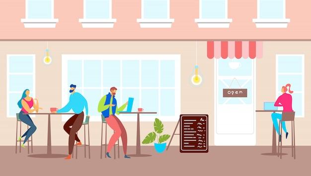 Esterno del caffè della via, illustrazione di architettura della città. carattere di persone al di fuori del ristorante dei cartoni animati, tavoli all'aperto per uomo