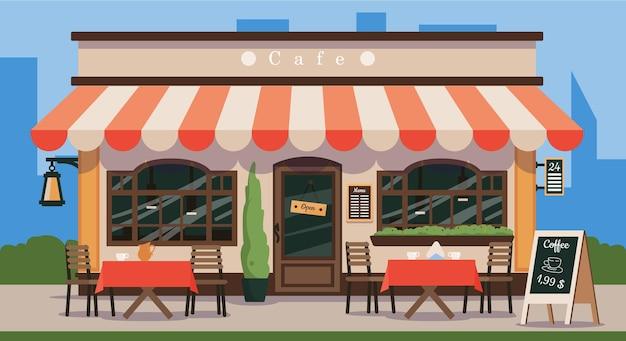 Negozio di caffè di strada in vecchio stile francese