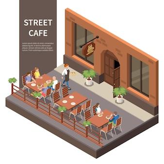 Composizione isometrica della terrazza del caffè di strada tre tavoli sulla strada con visitatori e cameriere