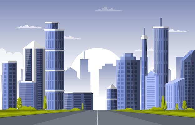 Illustrazione di affari dell'orizzonte di paesaggio urbano della costruzione di edifici della città della via