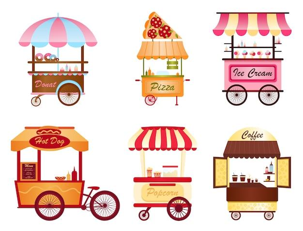 Carrello del caffè di strada, negozio di popcorn e hot dog, pizza, gelato e negozio di ciambelle