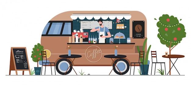 Illustrazione del negozio del camion dell'alimento del caffè della via. macchina piana del furgone dell'automobile di consegna del caffè degli alimenti a rapida preparazione del fumetto con il carattere del venditore dei pantaloni a vita bassa dell'uomo, servizio di caffè nel mercato di strada della città di estate isolato su bianco