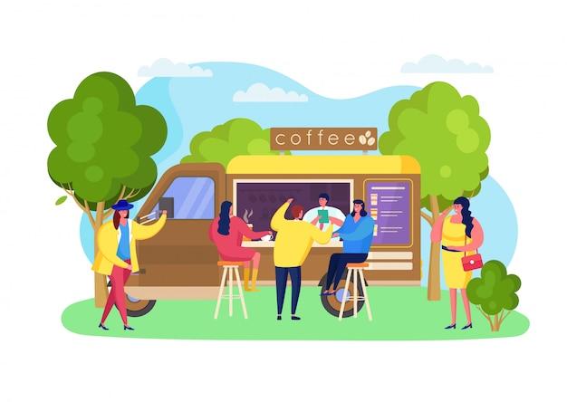 Camion del caffè della via al parco, illustrazione. caffè portatile per bevande, tazza di bevande calde da asporto, attività di catering. cliente