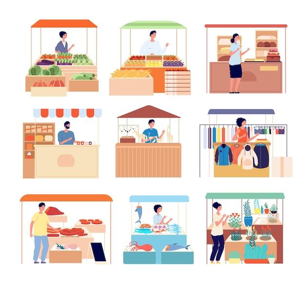 Contatore stradale. venditori del mercato, venditori di prodotti freschi fatti in casa naturali. frutti di mare isolati, bancarelle di miele di verdure, bancarelle