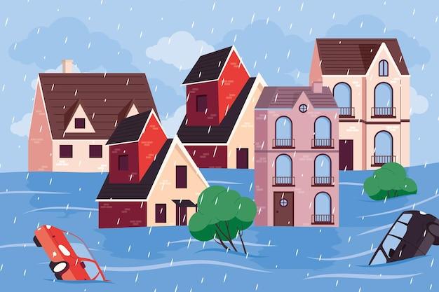 Scena di inondazione della strada