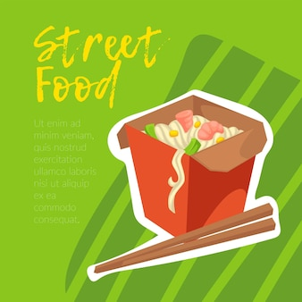Piatto asiatico street food, tagliatelle con le bacchette