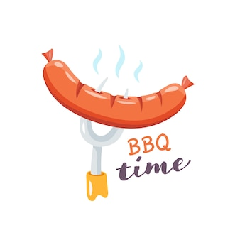 Cibo di strada. salsiccia alla griglia deliziosa e succosa su una forcella. tempo di barbecue.