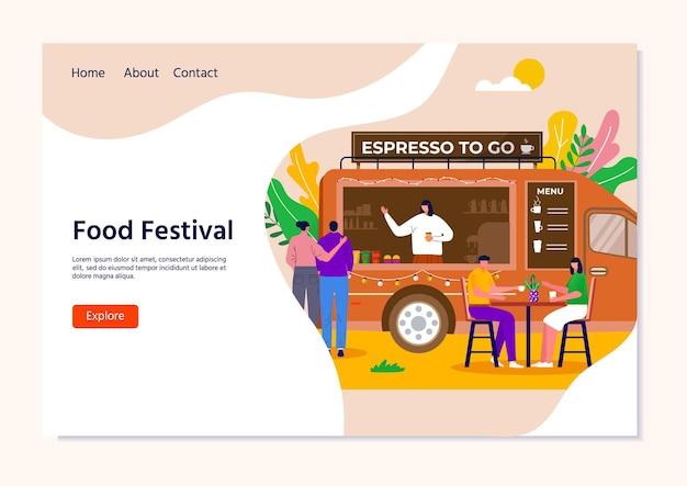 Concetto di festival del cibo di strada per landing page, persone che acquistano caffè da asporto in camion, veicolo