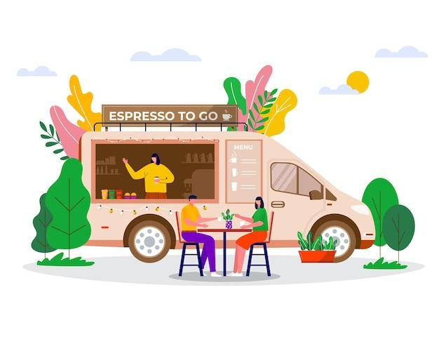 Street food festival, persone che acquistano caffè da asporto in camion, veicoli. caffetteria mobile, bar su ruote con barista. personaggi seduti a tavola.