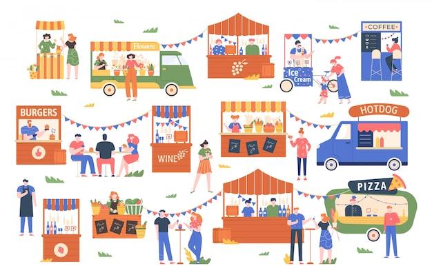 Mercato del cibo di strada. mercato degli agricoltori all'aperto, i personaggi comprano e vendono verdure, pane, fiori e altri prodotti, illustrazione commerciale dello shopping di strada. chioschi locali, stand di venditori di cibo