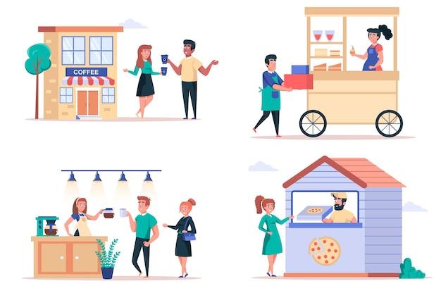 Insieme di elementi isolati del negozio di alimentari di strada gruppo di persone che acquistano bevande nei chioschi della caffetteria