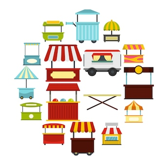 Le icone del camion dell'alimento della via hanno messo nello stile piano