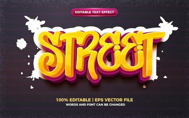 Street graffiti art style logo modificabile effetto testo 3d