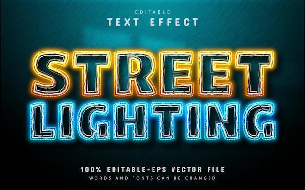 Illuminazione stradale effetto testo in stile neon