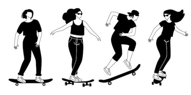 Sagome di longboard di strada. contorno di cartoni animati di giovani che allenano trucchi su skateboard, concetto di sport estremo di strada, illustrazione vettoriale di adolescenti all'aperto attivi