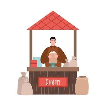 Bancone del mercato di strada con illustrazione di generi alimentari