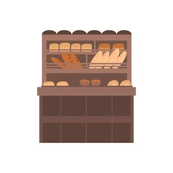 Bancarella del mercato di strada con l'illustrazione del fumetto dei prodotti da forno isolata