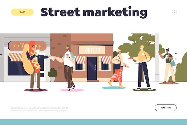 Concetto di marketing e promozione di strada della pagina di destinazione con promotori in costume che distribuiscono volantini alle persone e incollano poster su pilastri nel parco. cartoon piatto illustrazione vettoriale cartoon