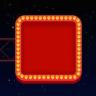 Insegna al neon di strada, insegna al neon rossa sul muro a forma di cornice. illustrazione vettoriale