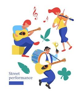 Spettacolo di strada. ballerino di strada. illustrazione vettoriale.