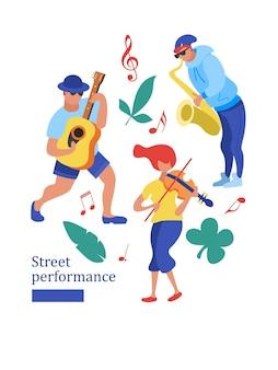 Spettacolo di strada. musicista di strada. illustrazione vettoriale.