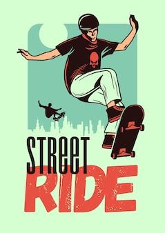 Manifesto di colore disegnato a mano di giro di strada con il giovane in casco che salta sullo skateboard