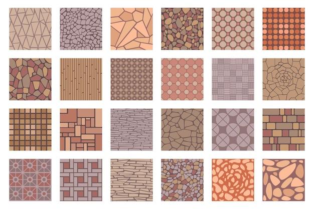 Vista dall'alto dei modelli delle mattonelle dei marciapiedi stradali della strada. piastrelle per pavimenti con struttura in pietra di roccia, mattoni e ciottoli. patio pavimentato o marciapiede del parco insieme vettoriale di piastrelle di strada modello stradale per l'illustrazione del marciapiede