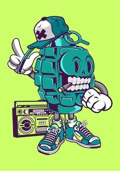 Illustrazione disegnata a mano di street style grenade