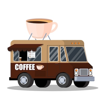 Camion di strada con caffè. bevanda calda e gustosa