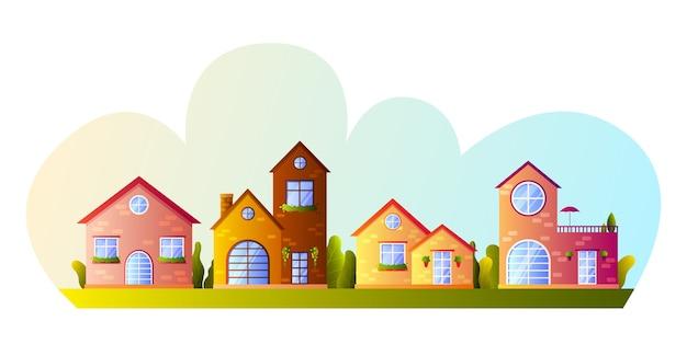 Strada con graziose case colorate del villaggio e alberi in stile cartone animato.