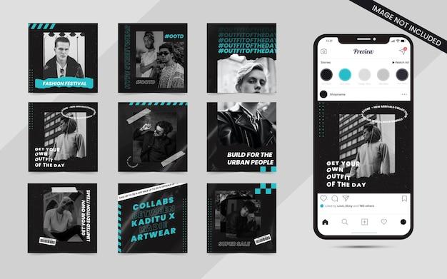Set di moda urbana streetwear di banner di feed post sui social media per modello di promozione di vendita quadrata di instagram