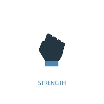 Concetto di forza 2 icona colorata. illustrazione semplice dell'elemento blu. disegno di simbolo del concetto di forza. può essere utilizzato per ui/ux mobile e web