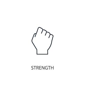 Icona della linea del concetto di forza. illustrazione semplice dell'elemento. disegno di simbolo di struttura del concetto di forza. può essere utilizzato per ui/ux mobile e web