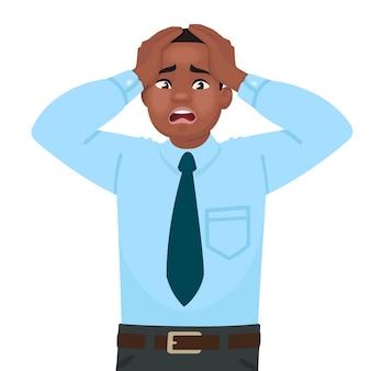Stress e ansia sul lavoro. un impiegato maschio afroamericano è allarmato. mal di testa. problemi negli affari. in stile cartone animato
