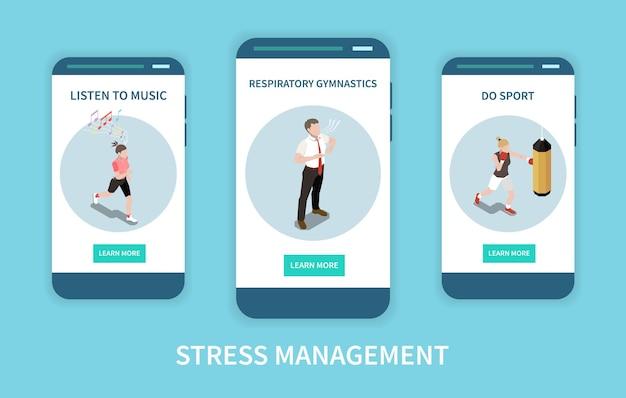 Gestione dello stress impostato con banner isometrico di ginnastica