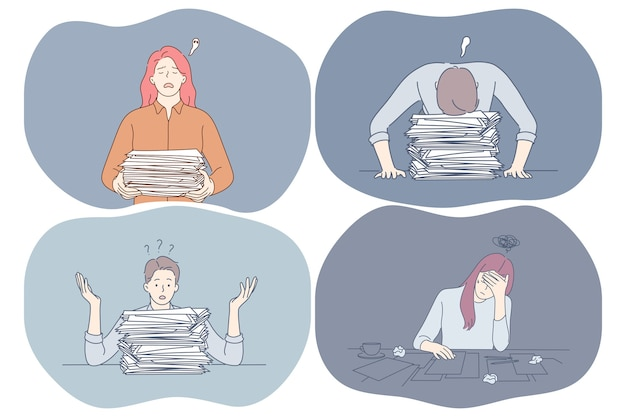 Stress, superlavoro, esaurimento, concetto di sovraccarico.