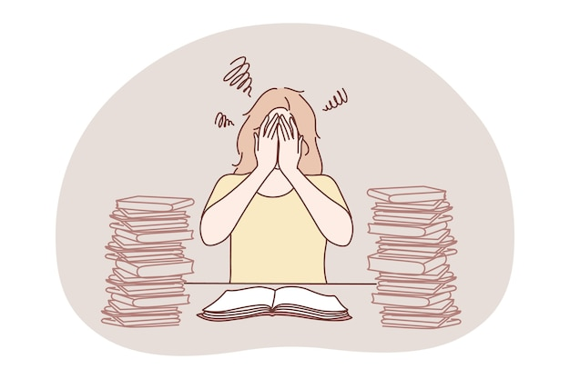 Stress, superlavoro, sovraccarico, concetto di burnout. personaggio dei cartoni animati di giovane donna frustrata infelice seduto con un mucchio di libri o documenti di lavoro, che copre il viso con le mani e sensazione di stanchezza da stress