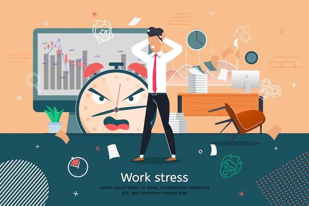 Banner di stress e problemi al lavoro d'ufficio