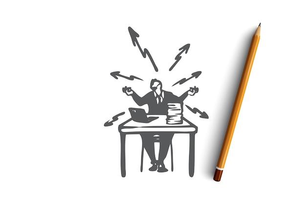 Stress, lavoro, problemi, ufficio, concetto occupato. dipendente sollecitato disegnato a mano allo schizzo di concetto del posto di lavoro. illustrazione.