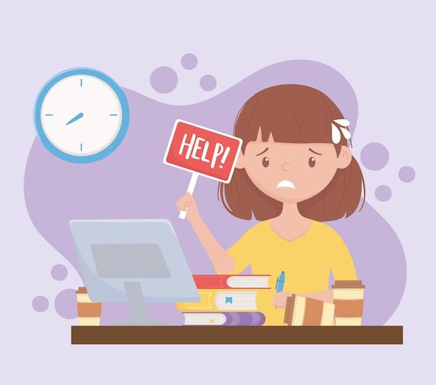 Sforzo sul lavoro, impiegato femminile preoccupato con il cartello di aiuto in ufficio