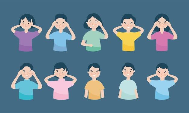 Set di icone di persone stressate