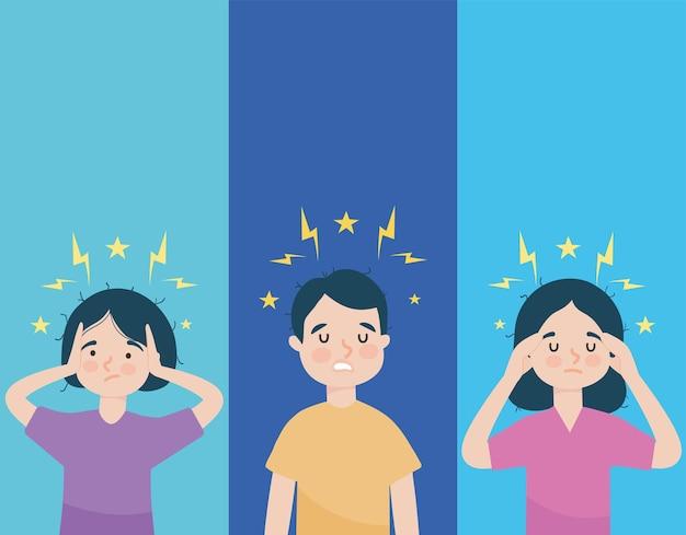Illustrazione di persone stressate