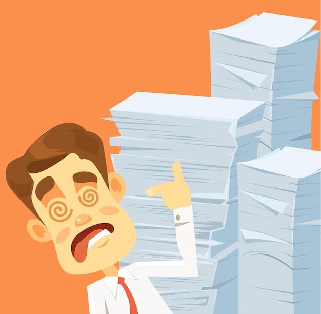 Carattere di uomo d'affari pazzo stressante. molte opere.