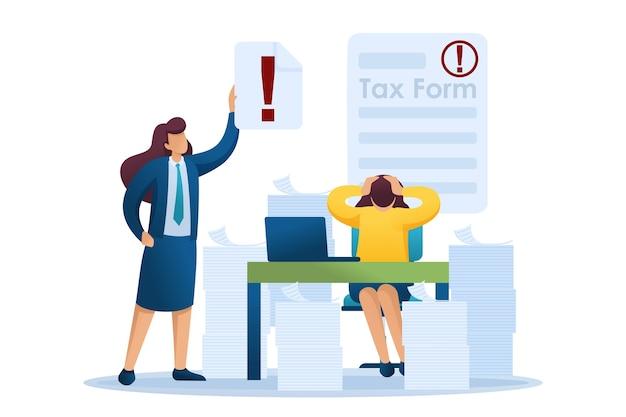 Situazione stressante dell'ufficio, compilazione del modulo fiscale, termine per la presentazione della dichiarazione dei redditi.
