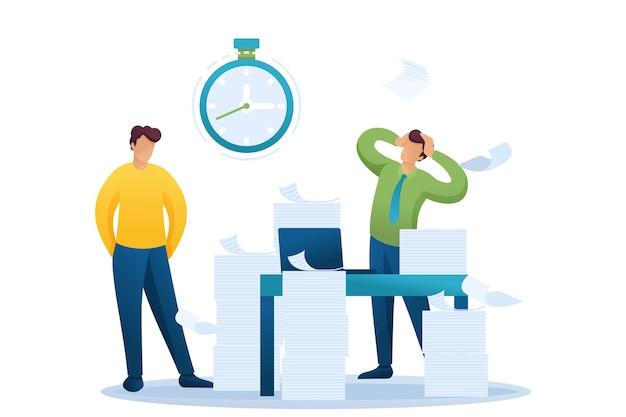 Situazione stressante dell'ufficio, scadenza per la presentazione della relazione, dipendenti dell'azienda sotto shock.