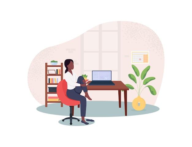 Allungando sulla sedia sul posto di lavoro illustrazione 2d